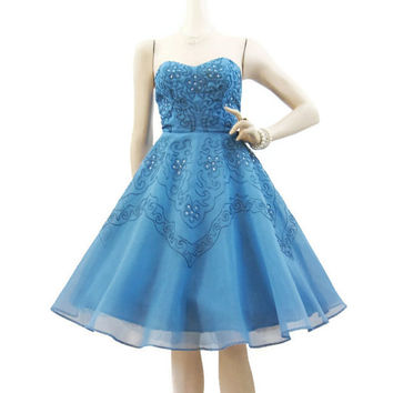 50s Dress Vintage Cupcake Blue Soutache Rhinestone Strapless Party Prom S