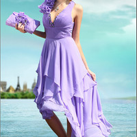 Lilac Cocktail dress Bridesmaid dress Wedding dress by topyecheng