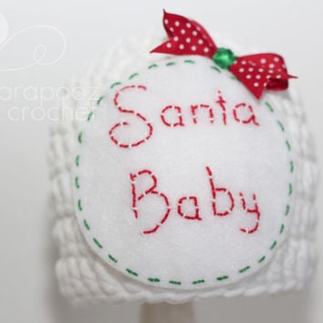 Santa baby hat,Santa crochet hat,  newborn photo prop, first Christmas