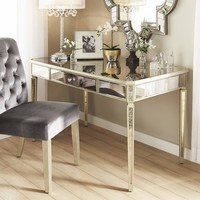 Clara Antique Gold 1-Drawer Mirrored Writing Desk by iNSPIRE Q Bold | Overstock.com Shopping - The Best Deals on Desks
