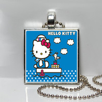 Retro Hello Kitty Sailor Square Tile Pendant Necklace or Keychain SALE