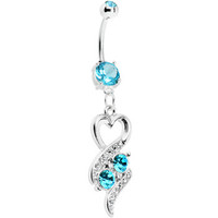 Aqua Double Gem Heart Ribbons Belly Ring | Body Candy Body Jewelry