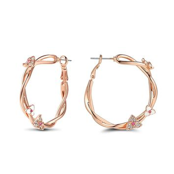 Rose Gold Color Flower Hoop Earrings for Woman Pink Rhinestone Large Twisted Circle Earrings Fashion Jewelry