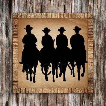 Western American Cowboys Riding Horses Silhouette RETRO WALL ART STICKER