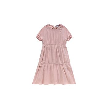 Petit Clair Girls' Blush Tiered Long Sleeve Dress with White Bow