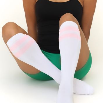 High & Tight knee-high sports socks, white w/pink