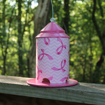 Pink Ribbon on White Wrapped Bird Feeder by Bird Feeder Guy.  Breast Cancer Awareness.  Perfect Indoor Decor or Garden Art.  Great Gift Idea