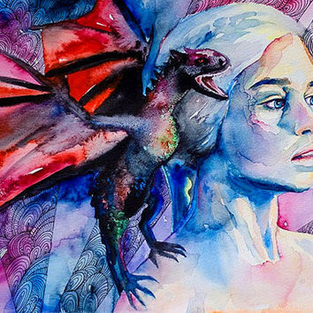 "Daenerys Targaryen - game of thrones  watercolor  painting print 8"" x 12""  Celebrity Portraits, Carmine red, Cerulean, red dragon"