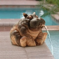 SheilaShrubs.com: Hanna, the Hippo Spitter Piped Statue EU35009 by Design Toscano: Spitter Fountains