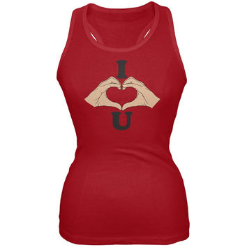 Valentine's Day - Heart Hands Red Soft Juniors Tank Top