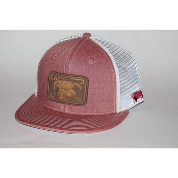 Lazy J Ranch Wear Elevation Leather Patch Hat  Red with White