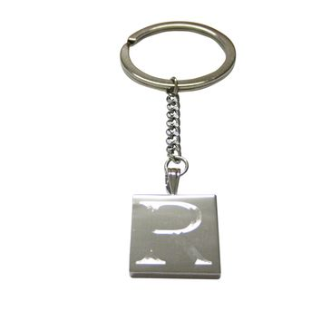 Letter R Etched Monogram Pendant Keychain