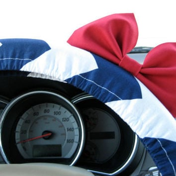 Navy and White Chevron Steering Wheel Cover with by BeauFleurs