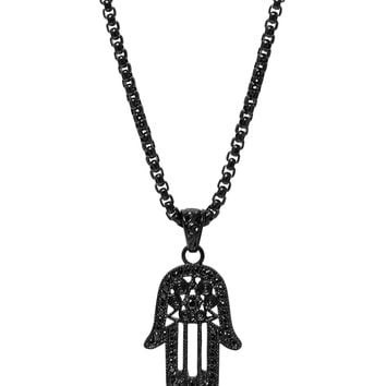 Men's Black Hamsa Hand Necklace