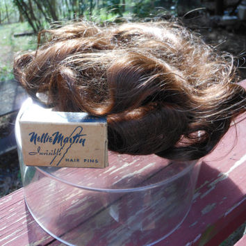 Brown 100% Human Hair Wig Wavy Made in Korea with bonus Nellie Martin Invisible Hair Pins Vintage Wiglet in 7 inch Clear Plastic Case 1960's