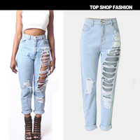 Hot Popular Women Loose  Ripped Boyfriend Hole Jeans Trousers Pants _ 1076