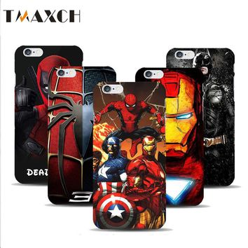 For iphone X 5 5S Deadpool Spiderman Avengers Hard Plastic Case For Coque iphone 6 6S 7 8 Plus Batman Ironman Superman capinhas