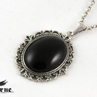 Onyx Gothic Pendant - Silver Necklace with Black Stone - Victorian Gothic Jewelry