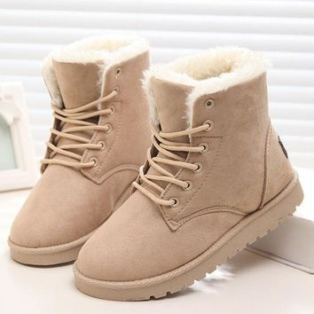 New Warm Winter Boots For Women Ankle Boots Waterproof Snow Girls Boots Female Shoes Suede with Plush Insole Botas Mujer Beige