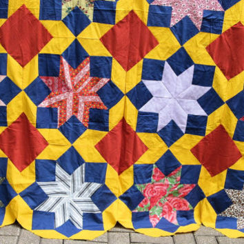 Vintage Quilt Top ROLLING STONE Pattern  Rust-Red, Yellow Blue  Hippie-Style  Hand-Pieced