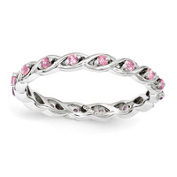 Sterling Silver Stackable Expressions Created Pink Sapphire Ring