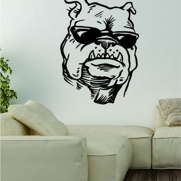 Bulldog Sunglasses Wall Decal Sticker Vinyl Art Home Decor Decoration Dog Puppy Animal Rescue Funny Cool