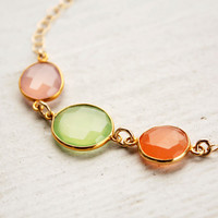 Green Chalcedony, Pink Chalcedony, and Peach Moonstone Bracelet - Pastel Colors - Spring Fashion
