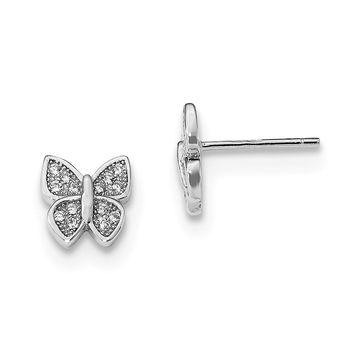 925 Sterling Silver Rhodium-plated CZ Butterfly Post Earrings