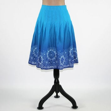 Blue Skirt Women Medium Cotton Skirt Full Skirt Boho Summer Skirt Drop Pleated Skirt Size 8 Skirt Jones New York Womens Clothing