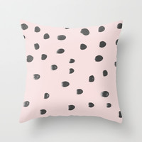 dots on pink Throw Pillow by Patternization By Iris Lehnhardt