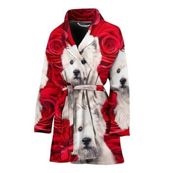 West Highland White Terrier On Rose Print Women's Bath Robe-Free Shipping
