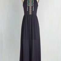 Boho Long Sleeveless Grapes of Ravishing Dress in Blueberry Wine