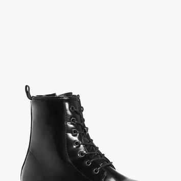 Robyn Patent Lace Up Hiker Boot | Boohoo
