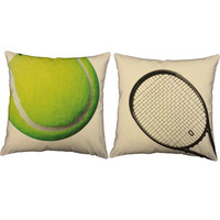 Set of 2 Tennis and Racquet Pillows - Tennis Print Pillow Covers and or Cushion Inserts - Sport Throw Pillows, Tennis Decor, Wimbledon Print