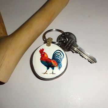 Rooster Cockerel Personalized Natural Keychain Keyring, Key Chain, Keyring gift. Natural Key Ring Wood. Key Chain Keychain Wooden Keychain