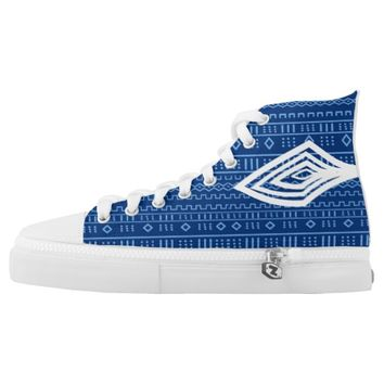 Afro Blue Tribal Design Printed Shoes