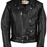 Classic Perfecto Leather Motorcycle Jacket - Long Sizes 118L