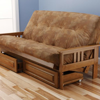 Andover Full Size Futon Sofa Bed and Drawer Set, Honey Oak Wood Frame, Bonded Leather Innerspring Mattress, Caramel