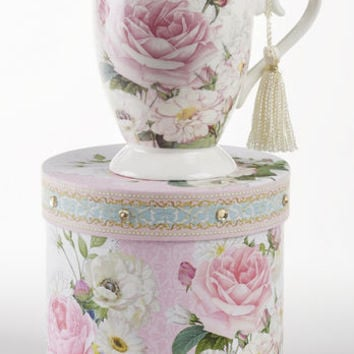 Gift Boxed Porcelain Mug with Tassle - Pink Rose