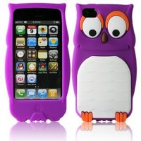 niceEshop(TM) Purple Owl Design 3D Cartoon Soft Silicone Case Cover Fit for the New iPhone5 5S +Screen Protector