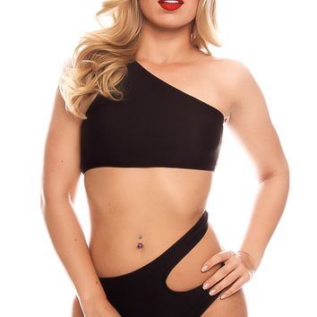 BLACK SIDE CUTOUT OFF SHOULDER LOOK ONE PIECE SWIMSUIT