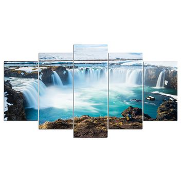Waterfalls Falls Landscape 5 Panel Wall Picture Print for Living Room