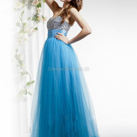 A-line Sweetheart Tulle Floor-length Blue Beading  Evening Dress  at dressestore.co.uk