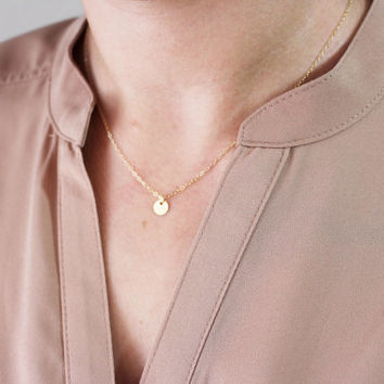 Tiny Coin Disc Necklace / 14K Gold Filled or Sterling Silver Tiny Gold Coin / Personalized Gift