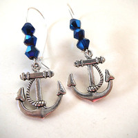Stocking Stuffer, Ocean Inspired Nautical Earrings with Deep Blue Sea Crystals, Holiday Gift Idea
