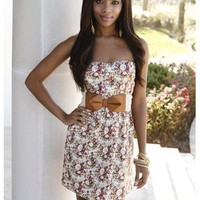 FLORAL STRAPLESS DRESS | Body Central