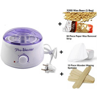 Wax heater & Depilatory Waxing Kit Including 500ML wax warmer pot & 10 Wooden Spatulas & 50 Removal Strip & Wax for hair removal