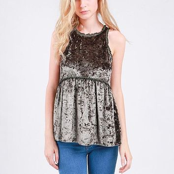 audry - crushed velvet babydoll tank top - more colors