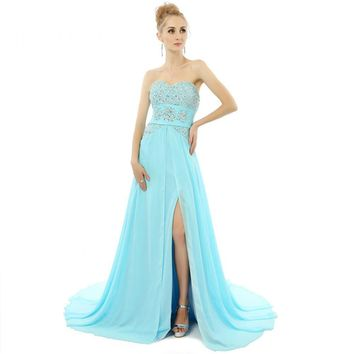 New Arrival Elegant Chiffon Beads A Line High Slit Sweetheart Neck Prom Dresses Prom Gowns