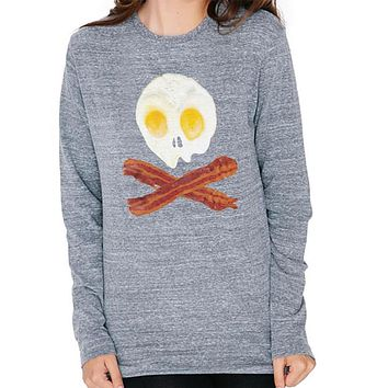 Eggs And Bacon Skull And Cross Bones Mens Soft Long Sleeve T Shirt
